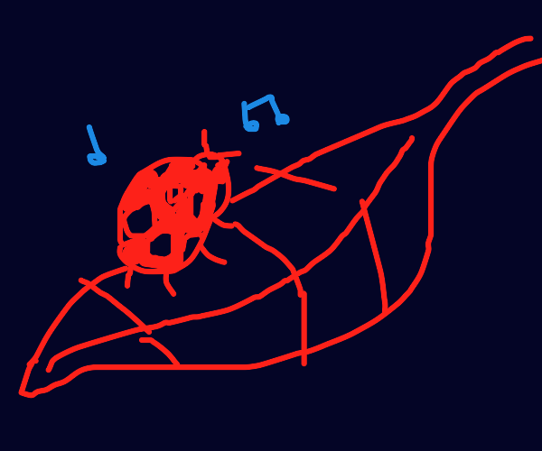 Ladybug dancing on a leaf
