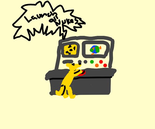 Dog presses the big red nuke button
