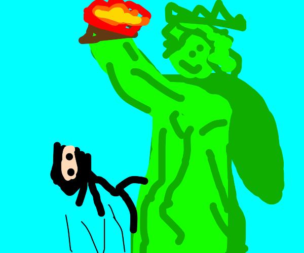 Ninja Runs Up Statue of Liberty