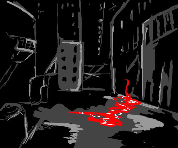 city alleyway with an ominous trail of blood