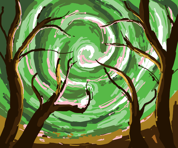 evil looking dead forest w/ green sky