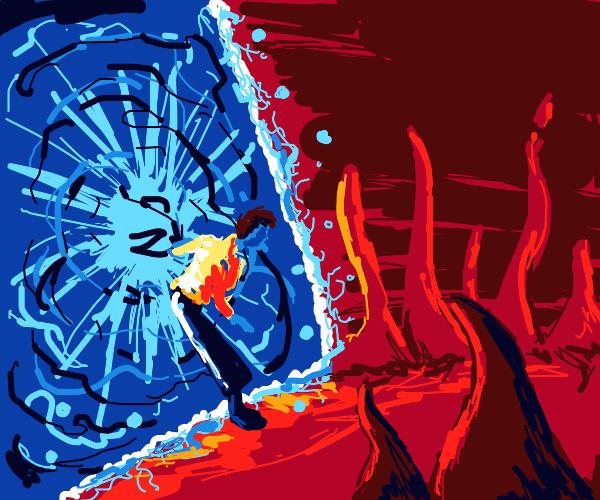 Walking through a blue portal into a red land