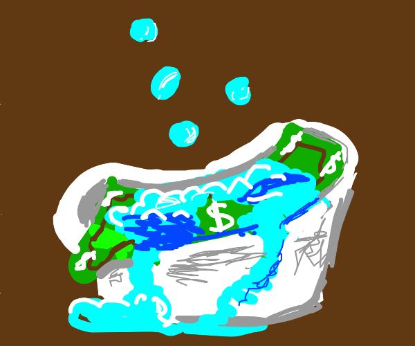 money bathing in bath