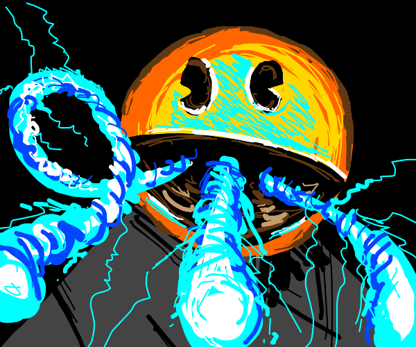 Pac Man does an energy blast from his mouth