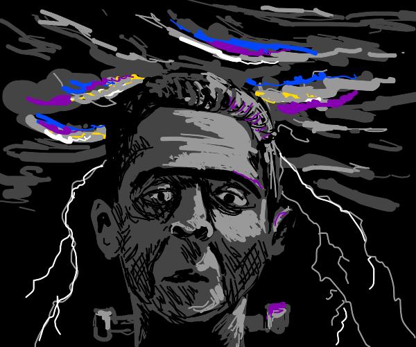 frankenstein in a lightning storm