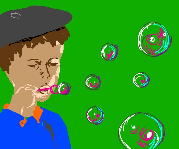 Boy with hat blowing bubbles