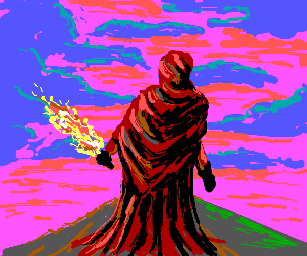 Cloak man holds large torch