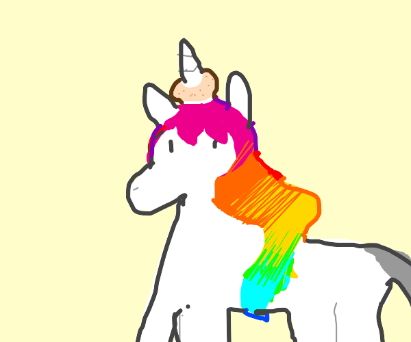 a unicorn with a bagel on its horn
