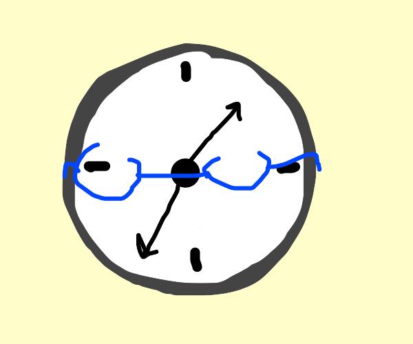 Clock wearing glasses