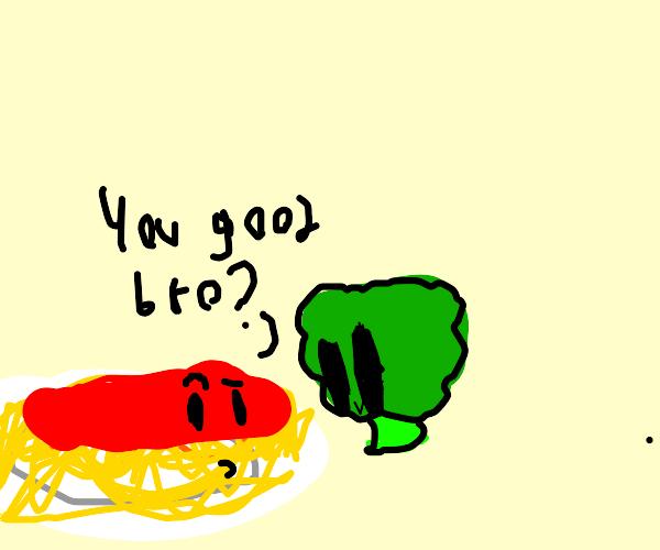 broccoli stares at spaghetti