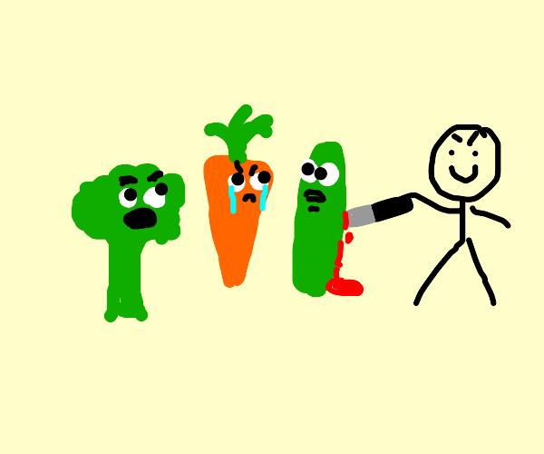Guy is going to murder living veggies