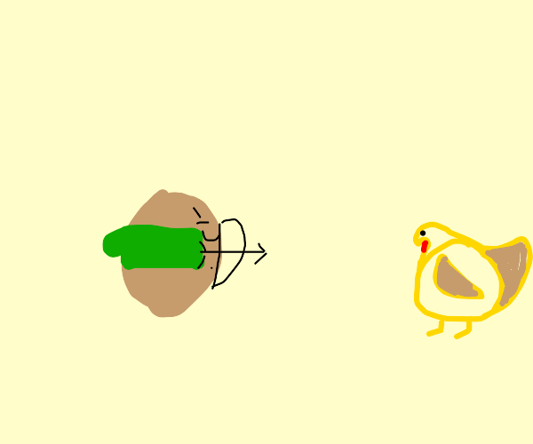 potato hood shooting a fat chicken with a bow