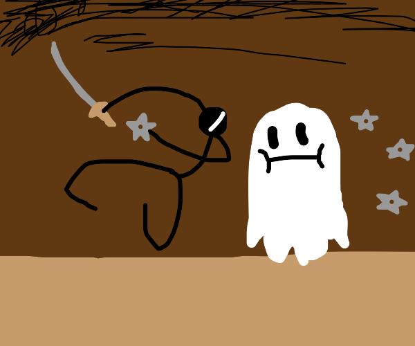 ninja attacking a ghost