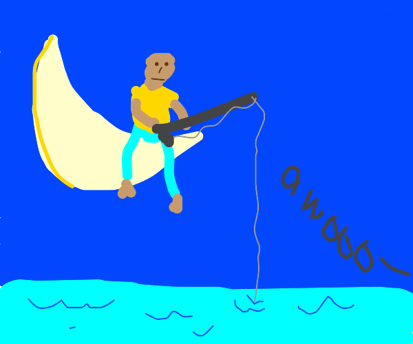 A guy fishes from the moon, dog howls at him