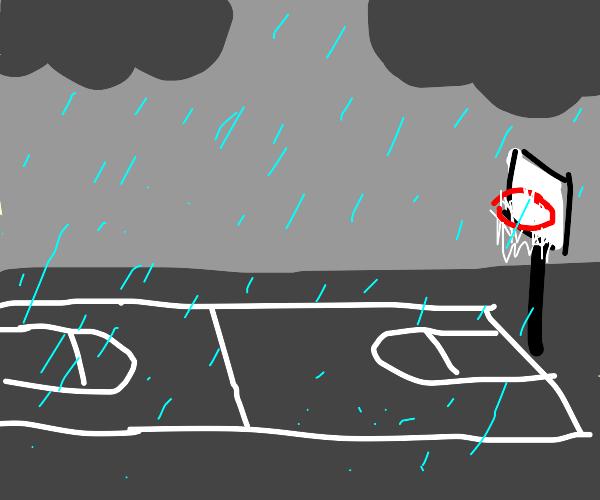 Rainy day at the b-ball court