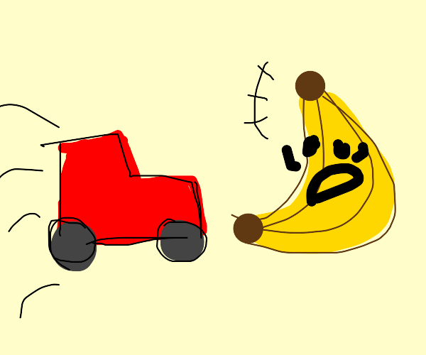 Car about to hit giant banana