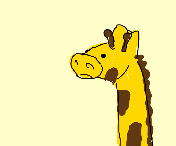 giraffe with yellow pig nose
