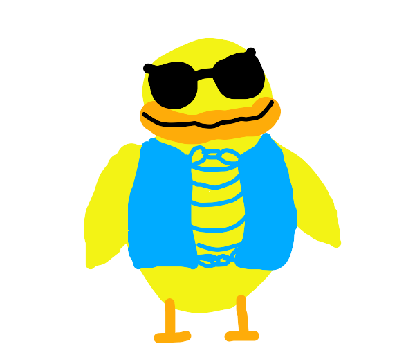 Cool duck in sunglasses and blue vest