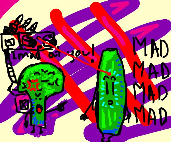 big broccoli is mad at cucumber mad broccoli