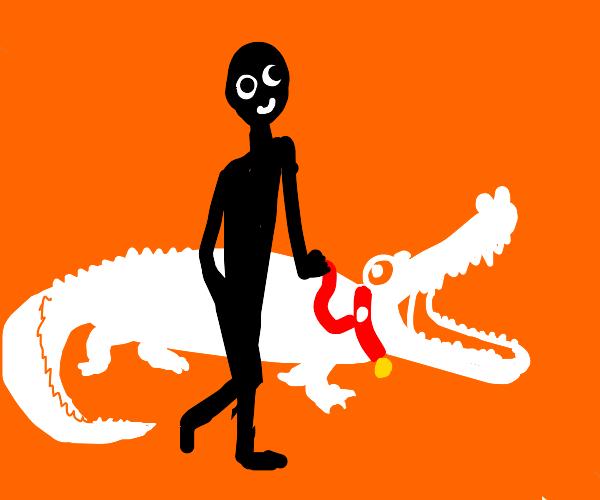 guy walking white alligator