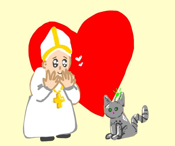 Pope loves robot cat