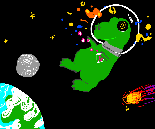 t rex on drugs, in space