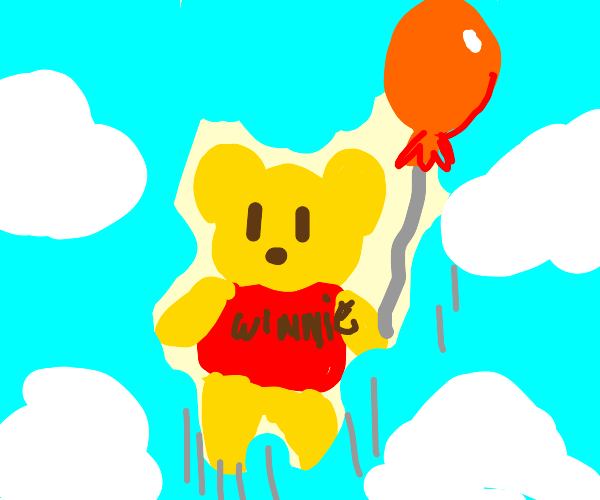 Winnie the Pooh going in air with balloon