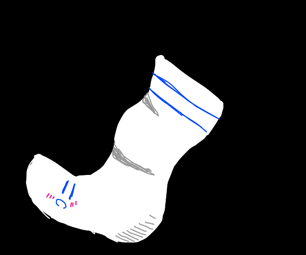 A sock floats in the darkness