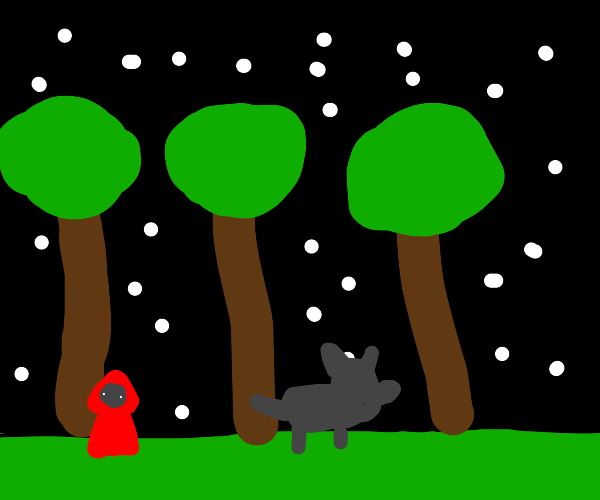 red riding hood in forest, silhouette of wolf