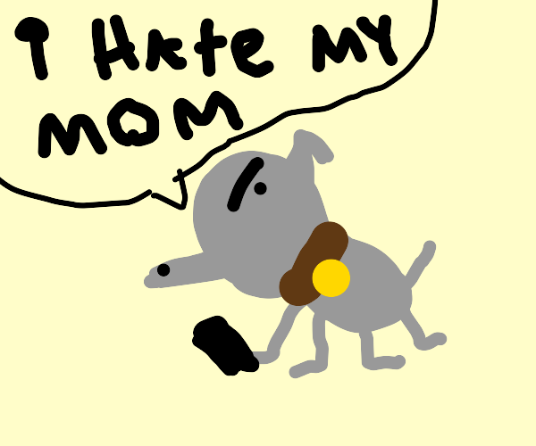 grey dog is mad at his mom on the phone