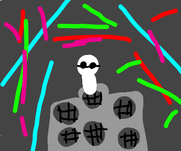 blind man at a rave party