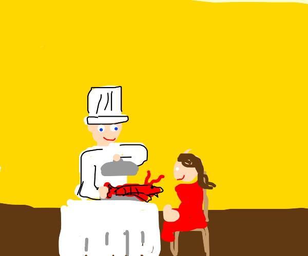 Chef serves lobster