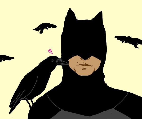 Crow kissing Batman