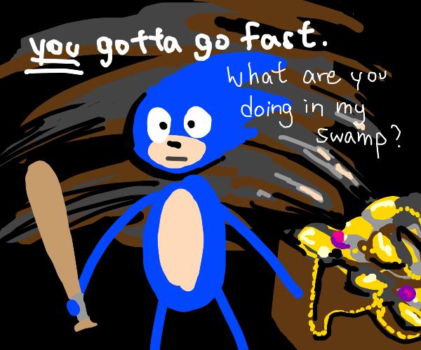 sonic says his catchphrases beside treasure