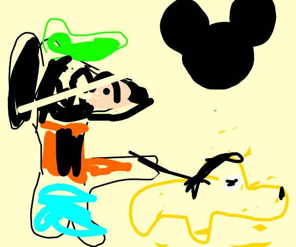 Goofy walking Pluto