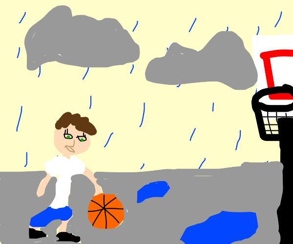 Raining on the basketball court