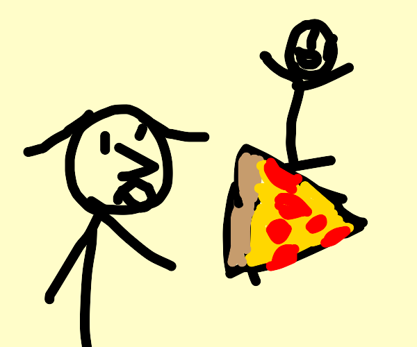 lady looks at guy riding a pizza