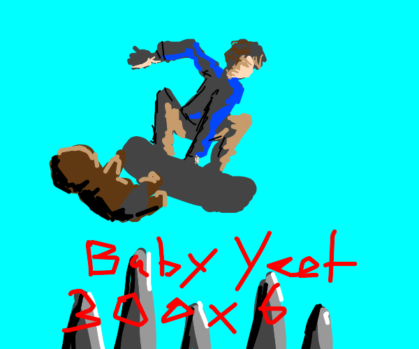 Tony Hawk throws a baby into pungee pit