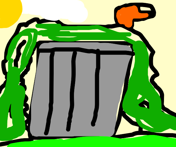 overflowing garbage can includes a finger
