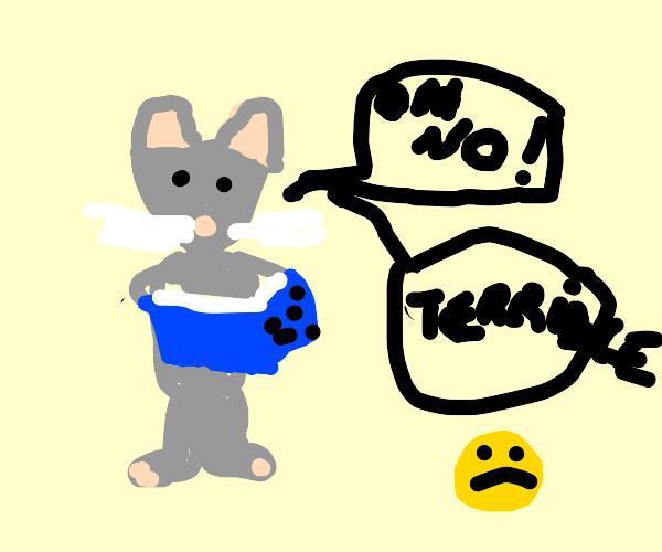 Mouse reading a sad book