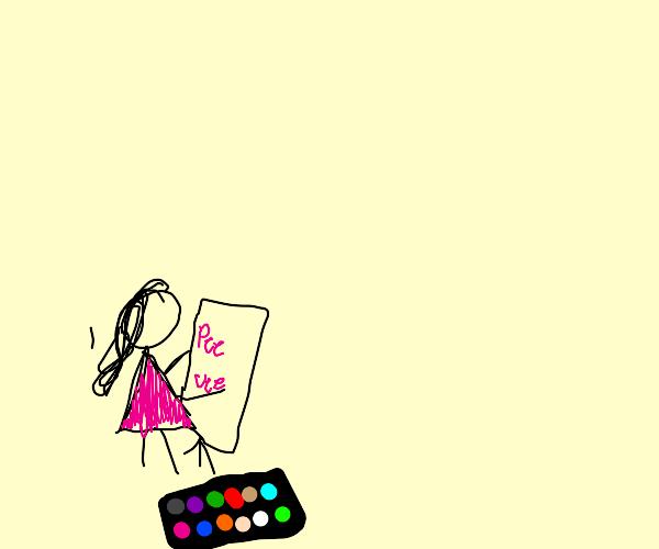 Girl paints weevee