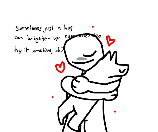 Dog hugging a human