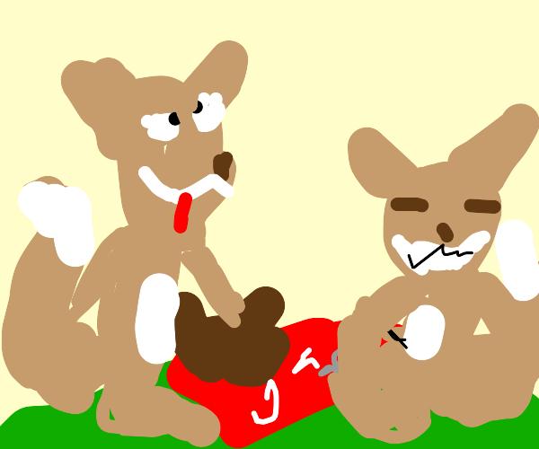 squirrels having a delightful picnic