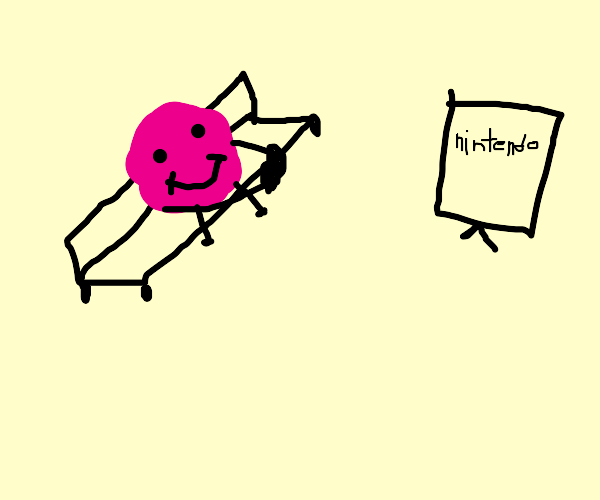 Happy pink ball plays the nintendo switch