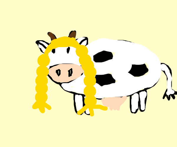 Cow with a wig
