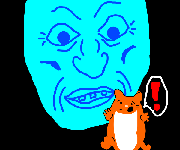 A hamster running away from a blue face