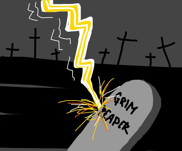 Lightning strikes over Grim Reaper's Cemetary