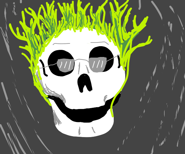 evil skull overlord w glasses in green flames