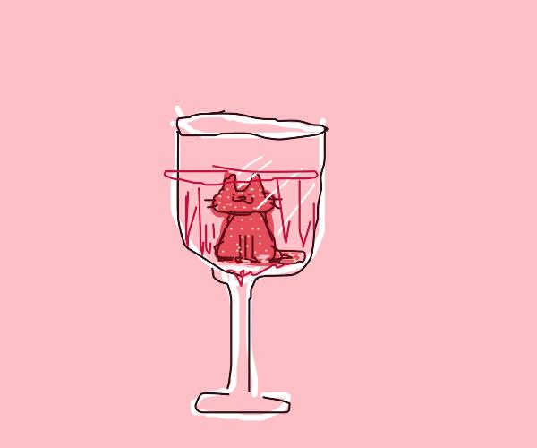 strawberry cat in a wine glass