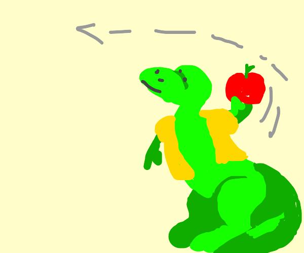 dinosaur is thrown an apple